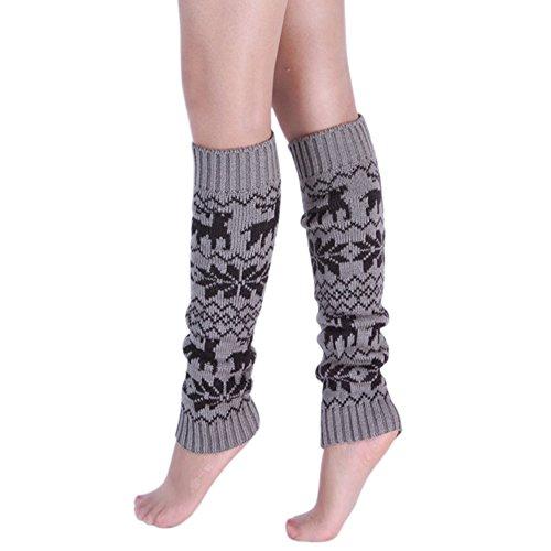 Mujeres Adult Knee High Winter Knit Crochet Calcetines De Arranque De Halloween Calientapiernas Ciervos Gris