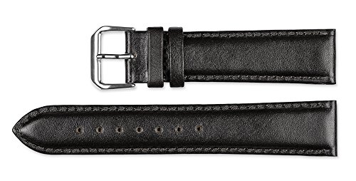 deBeer brand Smooth Leather Watch Band (Silver & Gold Buckle) - Black 15mm by deBeer Watch Bands (Image #2)