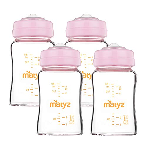 - Matyz 4 PCS Glass Breast Milk Collection and Storage Bottle (6oz Each, Pink) - Leak Proof Breastmilk Storage Bottle - Compatible with Spectra/Medela Breast Pump - Can Be Used as Baby Feeding Bottle