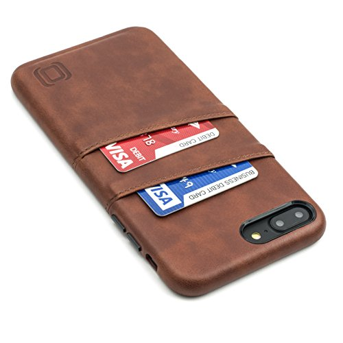 (Dockem Exec Wallet Case for iPhone 8 Plus/7 Plus - Slim Vintage Synthetic Leather Card Case with 2 Card/ID Holder Slots; Simple, Professional, Executive Snap On Cover [Brown])