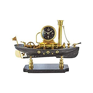 Nautical Maritime Clock Desk Side Table Night Brass Case Glass Lens Clock 5/""