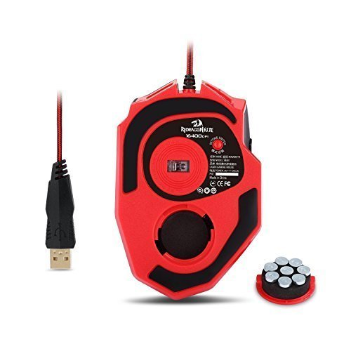 Redragon M801 Mammoth 16400 DPI Programmable Laser Gaming Mouse for PC, 9 Programmable Buttons, 5 User Profiles, Weight Tuning, Omron Switches, Black by Redragon (Image #5)