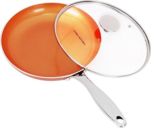 Utopia Kitchen Induction Bottom 9.5 Inches Copper Nonstick Frying Pan with Glass Lid and Stainless Steel Handle - Multipurpose Use for Home Kitchen and Restaurant by Utopia Kitchen
