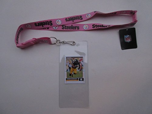 PITTSBURGH STEELERS PINK LANYARD WITH DETACHABLE CLIP AND TICKET HOLDER PLUS COLLECTIBLE PLAYER CARD