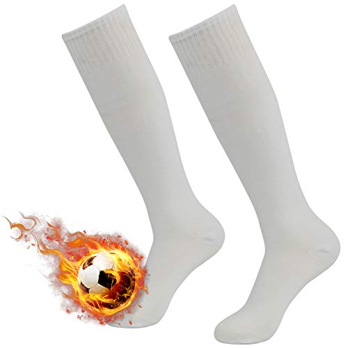 Three street 3street Unisex Adults Over Knee High Team Speed Soccer Compression Socks White 2-Pairs