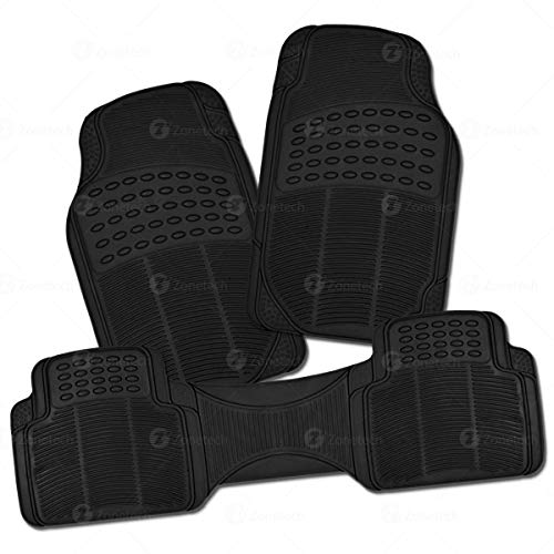 Car Rubber Black Floor Mat- Zone Tech Set of 3-Piece Car Vehicle Floor Mat - Universal Fit, All-Weather Rubber Material