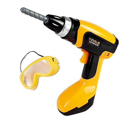 (Young Choi's Toy Power Tool Drill, Kids Power Construction Tool Electric Drill with Goggle, Toddlers Toy Shop Tools for Boys)