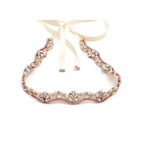 yanstar Handmade Rhinestone Belt Wedding Bridal Belt Sashes for Bridesmaid Dress (Rose-Ivory)