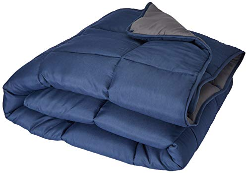 Linenspa All-Season Reversible Down Alternative Quilted Comforter - Hypoallergenic - Plush Microfiber Fill - Machine Washable - Duvet Insert or Stand-Alone Comforter - Navy/Graphite - Queen (Comforter Queen Only Size)