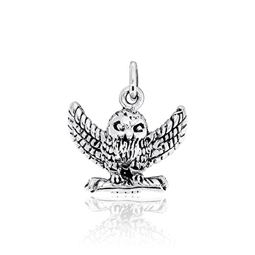 WithLoveSilver Solid Sterling Silver 925 3D HP Owl Pendant ()