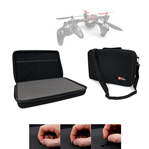 DURAGADGET Black Armoured EVA 'Shell' Storage Case with Fully-Customizable & Shock-Absorbing D.I.Y Foam Interior for the Hubsan X4 (H107C) Quadcopter Drone