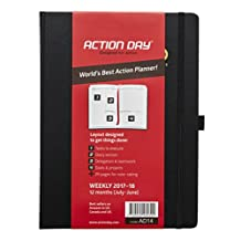 Action Day 2017-2018 – World's Best Action Planner – Action Layout That Gets Things Done - Daily / Weekly / Monthly / Yearly Agenda, Calendar, Organizer & Goal Journal (8x11 / Thread-Bound /Black)