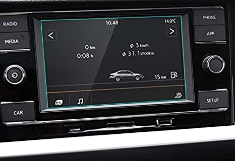 Leze HD Tempered Glass for 2018 Volkswagen Tiguan Scratch Filters UV Anti Scratch High Clarity Set of 2 2018 Volkswagen Tiguan VW 8 Inch Car Navigation Screen Protector, 9H