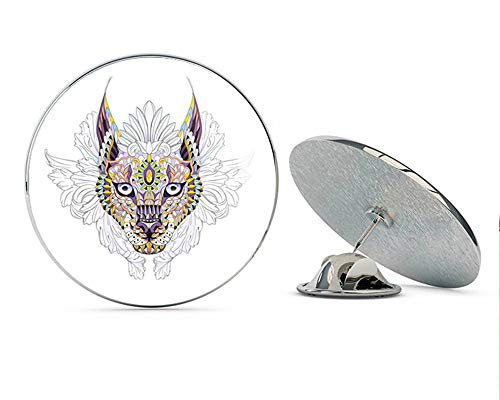 BRK Studio Colorful Watercolor Celtic Aztec Lynx Totem Tattoo Design - Purple and Red Round Metal 0.75