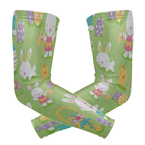 - Arm Sleeves Lovely Bunny Rabbit Duck Man Baseball Long Cooling Sleeves Sun UV Compression Arm Covers