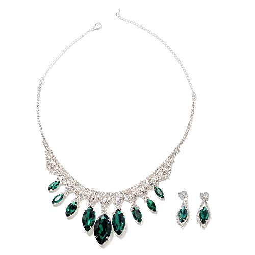 Shop LC Delivering Joy Earrings Necklace Set Green Glass White Crystal Gift Costume Jewelry for Women Size 21