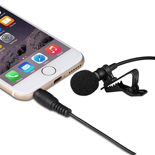 Lavalier Lapel Microphone Clip-on Omnidirectional Condenser Mic for Apple iPhone, iPad, iPod Touch, Samsung Android & Windows Smartphones.Perfect for Youtube Podcasting