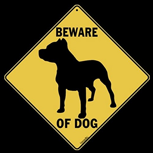 """Beware of DOG Yellow Alert Sign-12"""" by 12"""" on Sides Alumi..."""