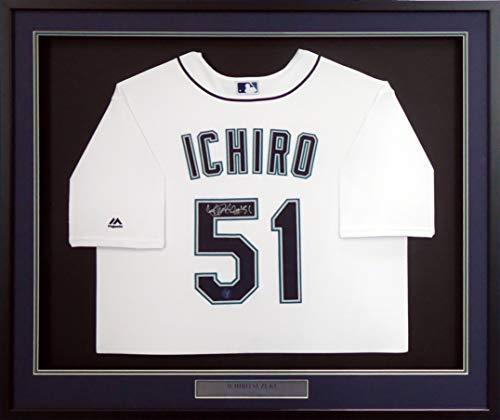 (Seattle Mariners Ichiro Suzuki Autographed Framed White Majestic Cool Base Jersey