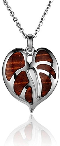 Aloha Jewelry Company Sterling Silver Koa Wood Anthurium Necklace Pendant with 18