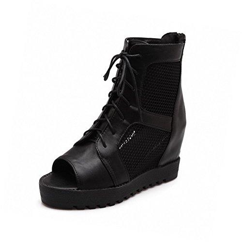 AllhqFashion Womens Blend Materials Solid Zipper Open Toe High Heels Sandals Black 7DjHp