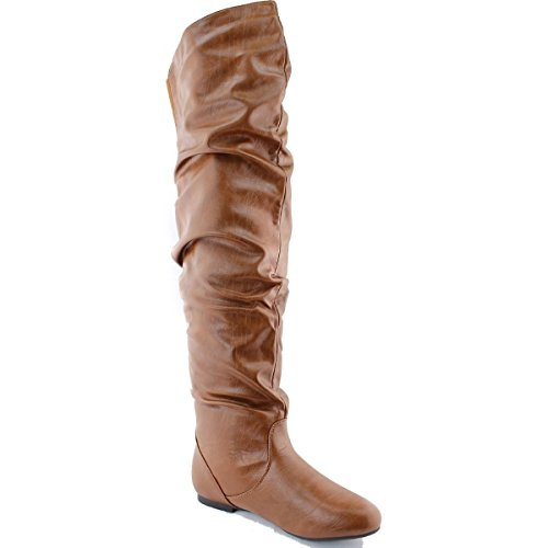 10 Toe Pu Round Suede DEV The Shoes Women's High Thigh PU New Leather Boots Knee Tan Slouchy Flat Sz Over 5 cqFFYwRU