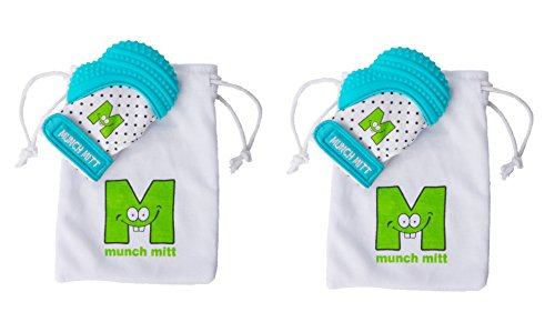 Munch Mitt® Teething Toy Stays on Baby's Hand is Self-Soothing Entertainment and Gives Pain Relief from Teething plus is Ideal Baby Shower Gift that includes Handy Travel/Laundry Bag– Set of 2 Blue from Munch Mitt