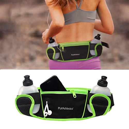 PurAthletics Hydration Pack Waist Pouch for Cell Phone 2 Sports Water Bottle Fanny Pack for Running