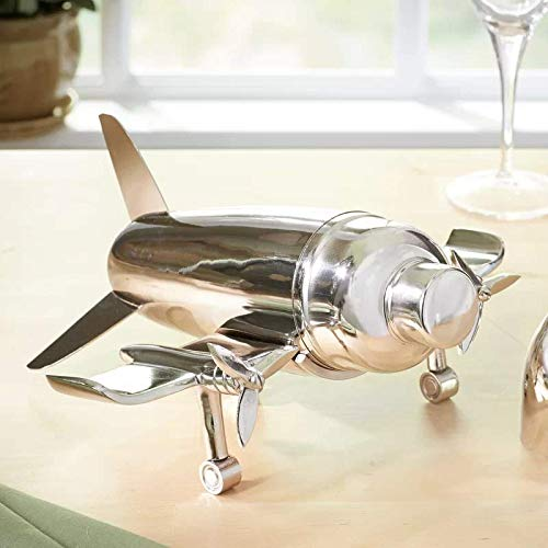 Le'raze Airplane Cocktail Shaker, Premium 24 Ounce Bar Shaker With Stand, Airplane Art Bar Drink Shaker, Aviation Bartender Mixer, Ideal For Flying Bartender, Pilot Gift, Chrome Airplane Decor by Le'raze (Image #7)