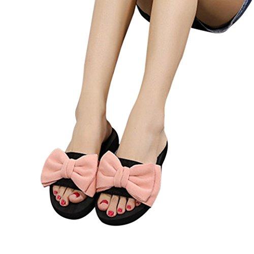 kaifongfu Flip-Flops For Women,Clearance! Summer Sandals With Bow Slipper Indoor &Outdoor Flip-Flops Beach Shoes For Women (US:6, Pink)