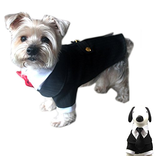 Alfie Pet by Petoga Couture - Oscar Formal Tuxedo with Black Tie and Red Bow Tie - Color: Black, Size: Medium