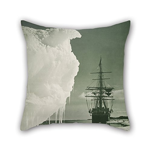 Alphadecor Oil Painting Herbert George Ponting - The 'Terra Nova' At The Ice Foot, Cape Evans Cushion Cases 16 X 16 Inches / 40 By 40 Cm For Outdoor Girls Him Relatives Lounge Boy Friend With Each