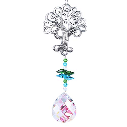 H&D Crystal Suncatcher Tree of Life Window Ornament with 50mm Crystal Prism