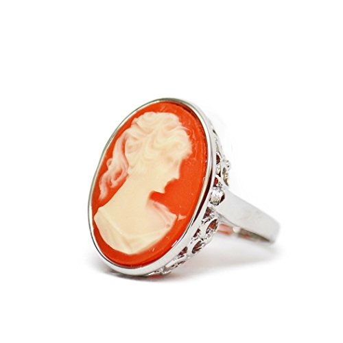 - Providence Vintage Jewelry 1970's Big White on Coral Cameo Ring 18k White Gold Electroplated