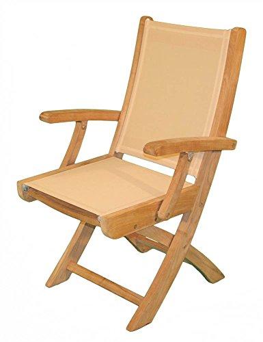 Hampton Folding Arm Chair in Teak (Aqua)