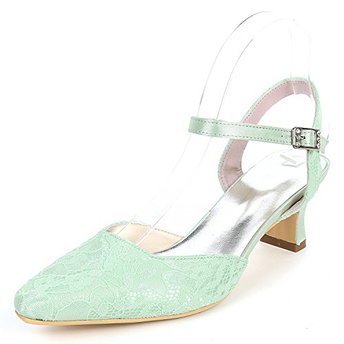 Satin Chaton Handmade Soie Talons 5 Toe De YC Boucle Mariage Femmes Green L Dress Chaussures Fermé Hauts 5cm Chunky wq7OPWp