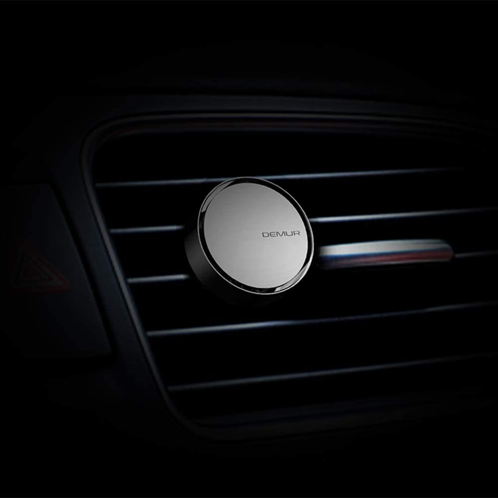 DEMUR Car Air Freshener by IndependentDesigner,Minimalist Aluminum Alloy Round Box,Scent-up to 40 Days-Titanium Gray