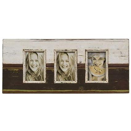 Marco para 3 fotos (10 x 15 cm) con madera de casetas de playa