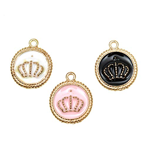 Monrocco 15Pcs Enamel Crown Charms, Alloy Round Crown Charms Pendants for Jewelry Making Bracelet Necklace - 15x19mm