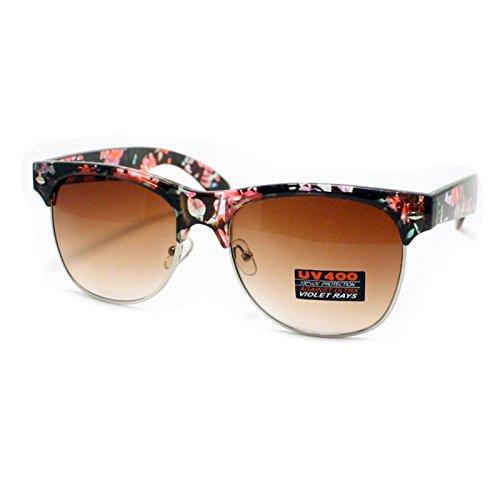 (Flower Floral Print Clubmaster Sunglasses Womens Fashion Keyhole Wayfarer Frame Dark)