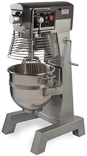 Chef's Exclusive CE745 Commercial All Purpose Gear Driven Planetary Floor Mixer with Timer 2 HP Motor and Safety Interlock Includes Dough Hook Flat Beater and Wire Whip, 30 Quart, Metallic 30 Quart Floor Mixer
