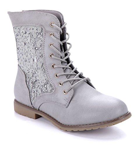 Schuhtempel24 Damen Schuhe Flache Stiefeletten Stiefel Boots Flach Ziersteine 2 cm Grau