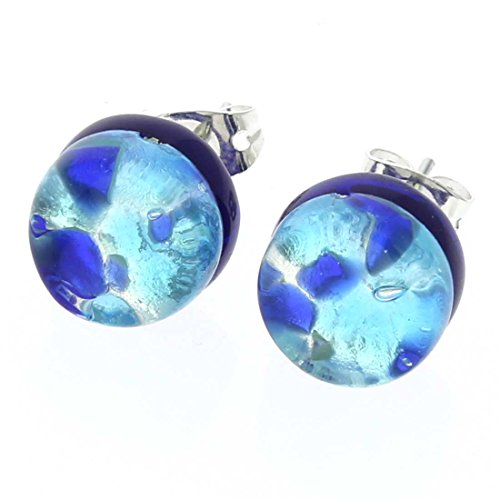 GlassOfVenice Murano Glass Venetian Reflections Round Stud Earrings - Aqua Blue