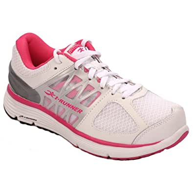Hylan iRunner Miya Women's Therapeutic Athletic Extra Depth Shoe Leather-and-Mesh Lace - White and Pink -6.0 Medium (B) White/Pink Lace US Woman