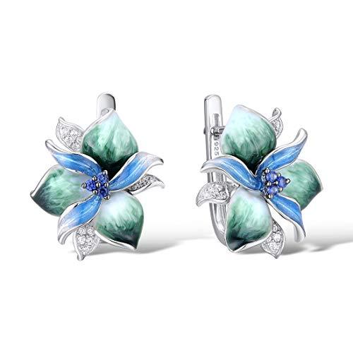 Santuzza 925 Sterling Silver Earrings Charming Enamel Blue Green Flower Sparkling Cubic Zirconia Fashion Jewelry Handmade, White