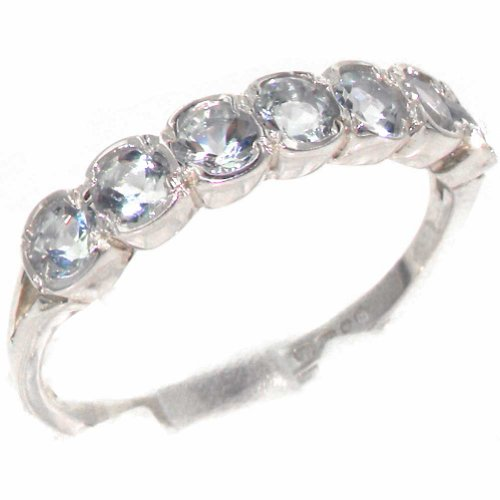 Natural Aquamarine Womens Band Ring - Sizes 4 to 12 Available ()