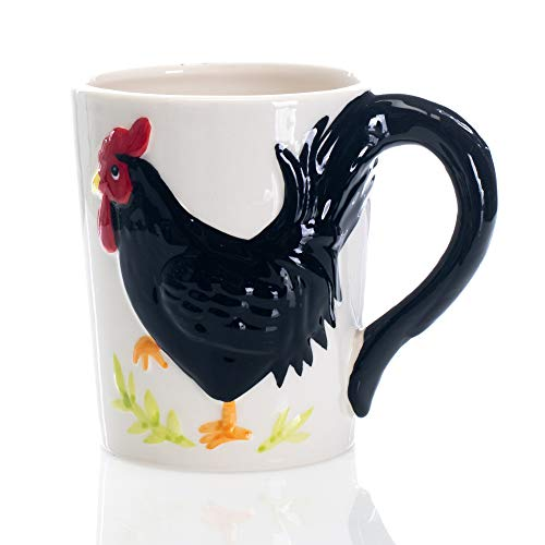 Embossed Rooster With Tail Handle Black and White 16 ounce Glossy Ceramic Mug