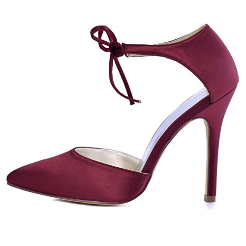 Heel Pointed D`orsay Satin Pumps Lace Women's Toe High Burgundy Dress up Bow ElegantPark xBqgCnw