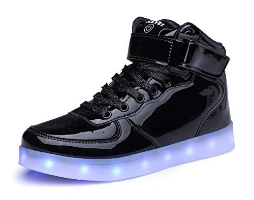 Price comparison product image SLEVEL Upgrade LED Light Up Shoes USB Flashing Sneakers for Kids Boys Girls(SsS98Black38)