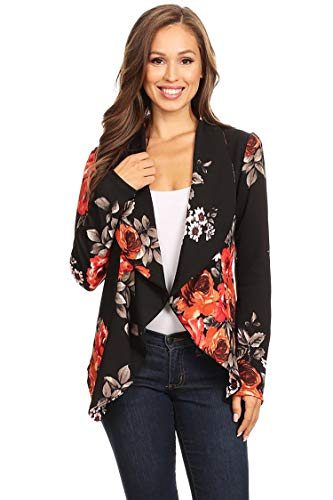 Women's Stretch Long Sleeves Open Front Blazer/Made in USA (S-3XL) Floral Black L